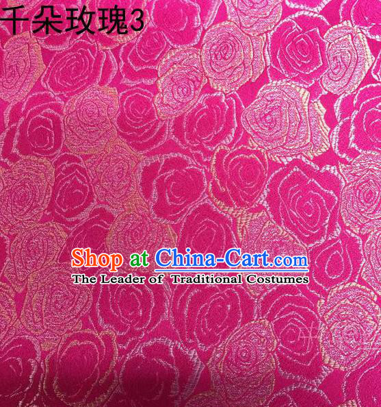 Asian Chinese Traditional Jacquard Weave Rose Flowers Rosy Satin Mulberry Silk Fabric, Top Grade Brocade Tang Suit Hanfu Princess Dress Fabric Cheongsam Cloth Material