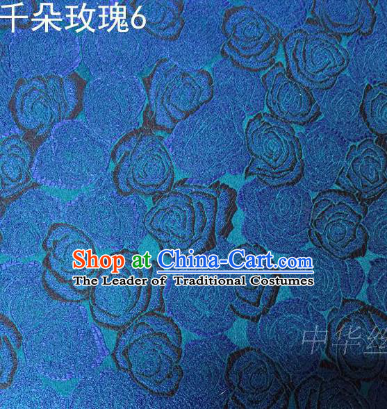 Asian Chinese Traditional Jacquard Weave Rose Flowers Blue Satin Mulberry Silk Fabric, Top Grade Brocade Tang Suit Hanfu Princess Dress Fabric Cheongsam Cloth Material
