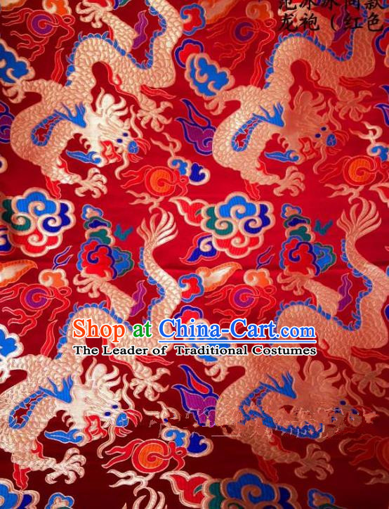 Asian Chinese Traditional Embroidered Dragon Red Satin Silk Fabric, Top Grade Brocade Tang Suit Hanfu Dragon Robes Dress Fabric Cheongsam Cloth Material