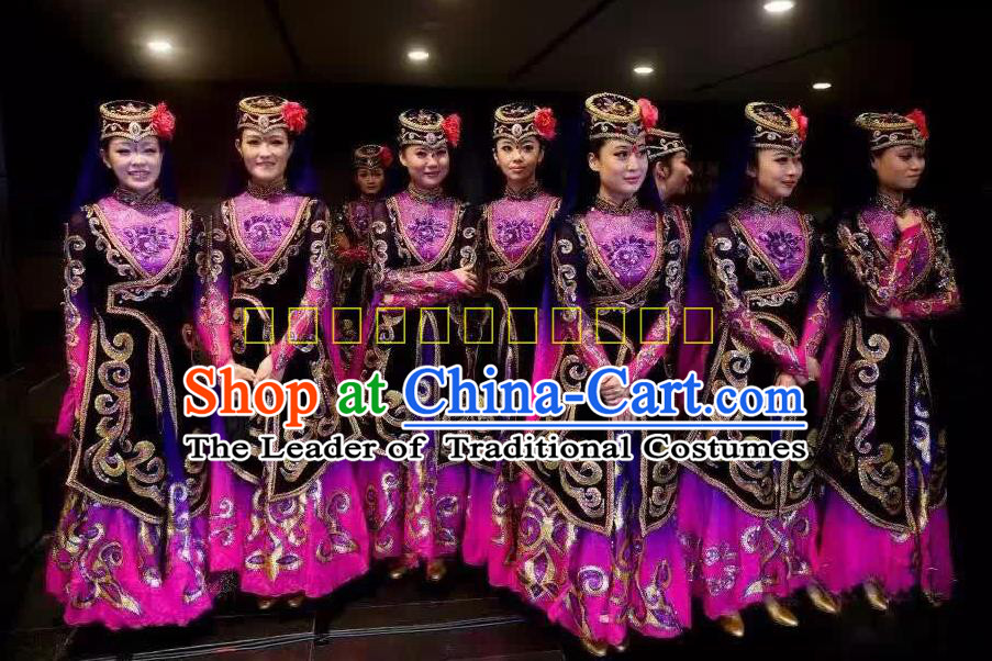 Traditional Chinese Uyghur Nationality Dancing Costume, Chinese Minority Nationality Uigurian Purple Dance Dress for Women