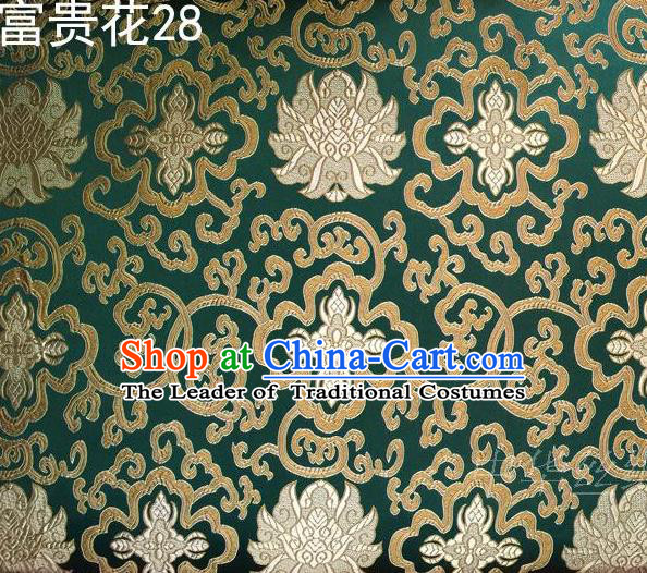 Asian Chinese Traditional Golden Riches and Honour Flowers Embroidered Green Silk Fabric, Top Grade Arhat Bed Brocade Satin Tang Suit Hanfu Dress Fabric Cheongsam Cloth Material