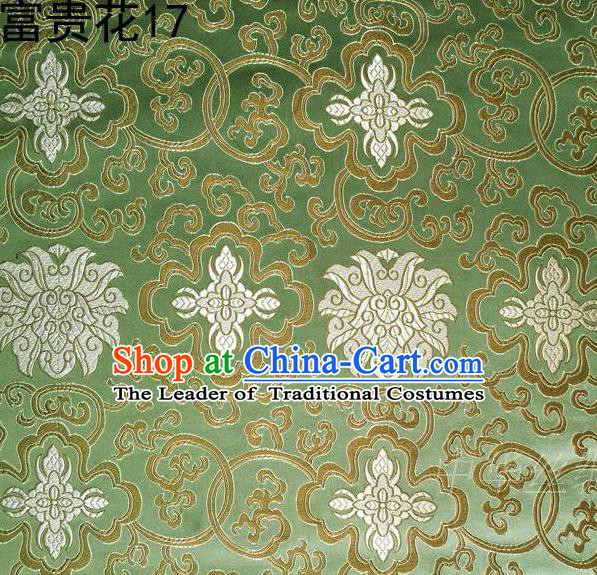Asian Chinese Traditional White Riches and Honour Flowers Embroidered Green Silk Fabric, Top Grade Arhat Bed Brocade Satin Tang Suit Hanfu Dress Fabric Cheongsam Cloth Material