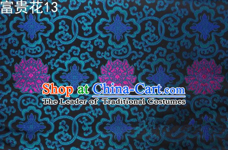 Asian Chinese Traditional Riches and Honour Flowers Embroidered Peacock Blue Silk Fabric, Top Grade Arhat Bed Brocade Satin Tang Suit Hanfu Dress Fabric Cheongsam Cloth Material