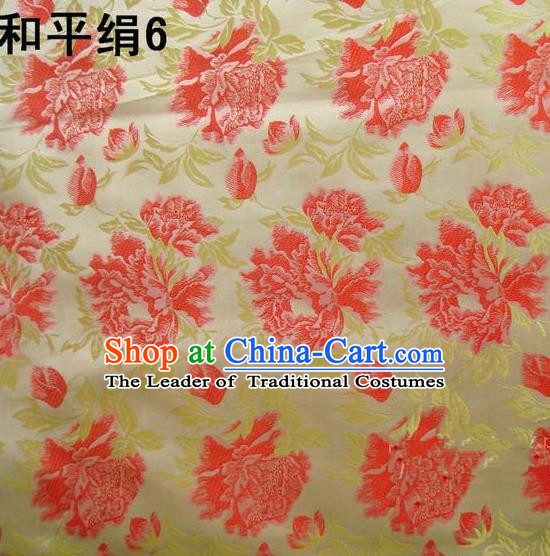 Asian Chinese Traditional Embroidered Red Flowers Golden Silk Fabric, Top Grade Arhat Bed Brocade Tang Suit Hanfu Dress Fabric Cheongsam Cloth Material