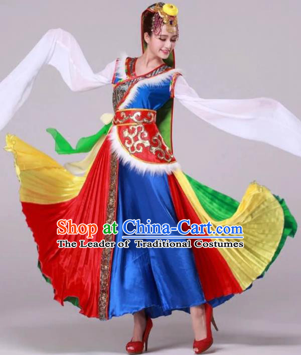 Traditional Chinese Zang Nationality Dancing Costume, Tibetan Folk Dance Ethnic Pleated Skirt, Chinese Minority Nationality Embroidery Costume for Women