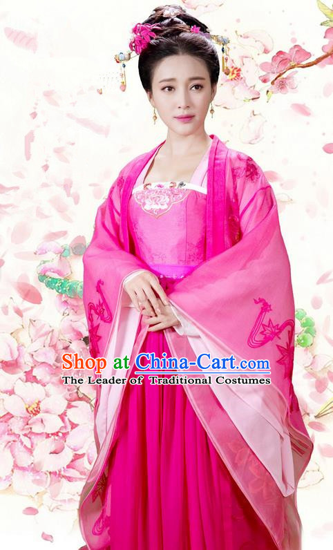 Asian Chinese Ancient Song Dynasty Imperial Consort Costume and Handmade Headpiece Complete Set, China Elegant Hanfu Clothing Imperial Empress Embroidered Dress for Women