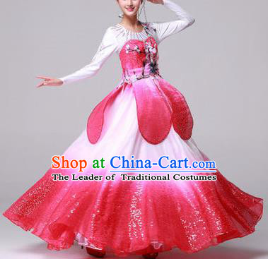 Chinese Classic Stage Performance Dance Costumes, Opening Dance Competition Pink Dress, Folk Lotus Dance Classic Big Swing Clothing for Women