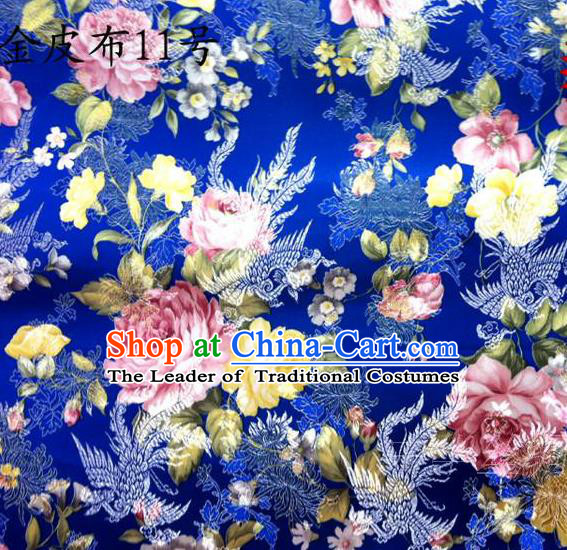 Asian Chinese Traditional Embroidery Peony Royalblue Satin Silk Fabric, Top Grade Brocade Tang Suit Hanfu Fabric Cheongsam Cloth Material