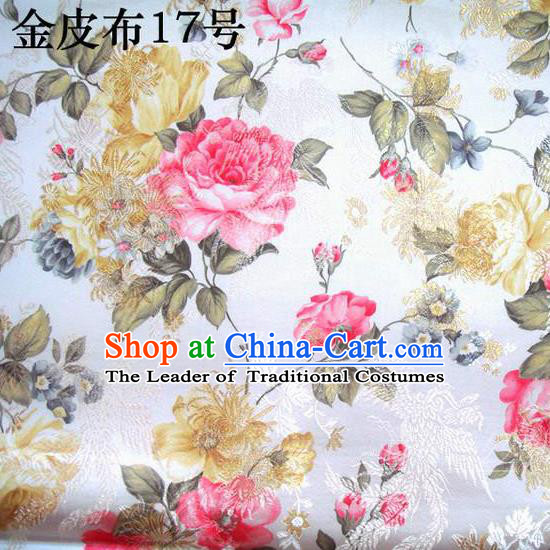 Asian Chinese Traditional Embroidery Peony White Satin Silk Fabric, Top Grade Brocade Tang Suit Hanfu Fabric Cheongsam Cloth Material