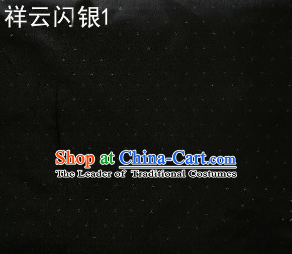 Asian Chinese Traditional Embroidery Gold Thread Black Satin Silk Fabric, Top Grade Brocade Tang Suit Hanfu Fabric Cheongsam Cloth Material