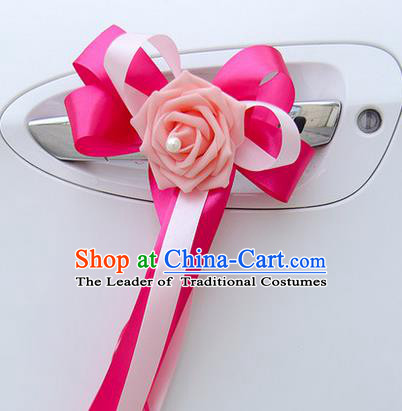 Top Grade Wedding Accessories Decoration, China Style Wedding Limousine Bowknot Pink Flowers Bride Rosy Ribbon Garlands