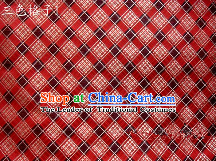Asian Chinese Traditional Tartan Design Mulberry Silk Fabric, Top Grade Nanjing Brocade Tang Suit Hanfu Red Fabric Cheongsam Cloth Material