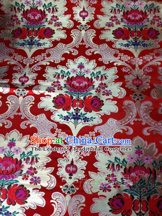 Asian Chinese Traditional Handmade Embroidery Flowers Wedding Satin Silk Fabric, Top Grade Nanjing Brocade Tang Suit Xiuhe Suit Hanfu Red Fabric Cheongsam Cloth Material