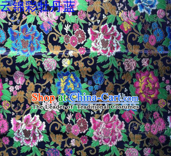 Asian Chinese Traditional Handmade Embroidery Peony Satin Silk Fabric, Top Grade Nanjing Brocade Tang Suit Hanfu Navy Fabric Cheongsam Cloth Material