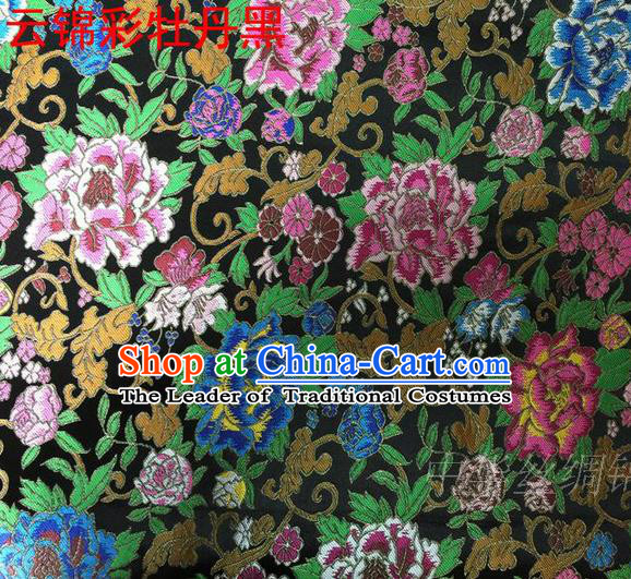 Asian Chinese Traditional Handmade Embroidery Peony Satin Silk Fabric, Top Grade Nanjing Brocade Tang Suit Hanfu Black Fabric Cheongsam Cloth Material