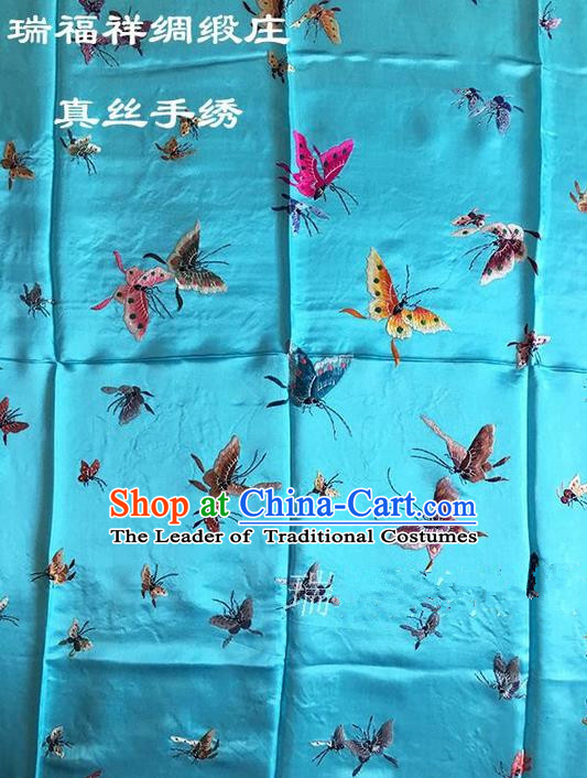 Asian Chinese Traditional Handmade Suzhou Embroidery Butterfly Dancing Satin Silk Fabric, Top Grade Quilt Cover Brocade Blue Fabric Cloth Material
