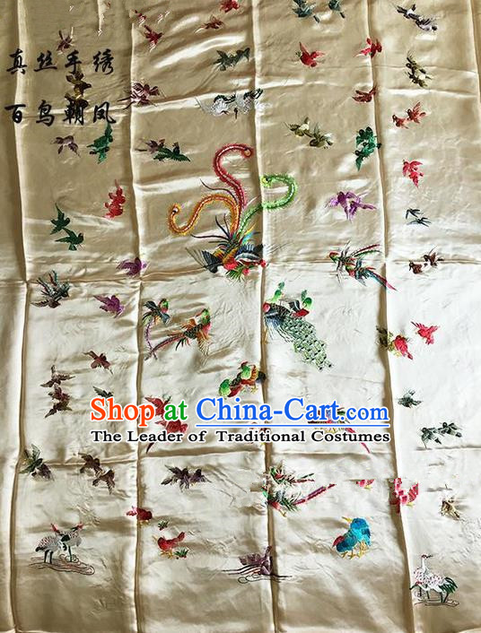 Asian Chinese Traditional Handmade Suzhou Embroidery Song of the Phoenix Satin Silk Fabric, Top Grade Quilt Cover Brocade Fabric Cloth Material