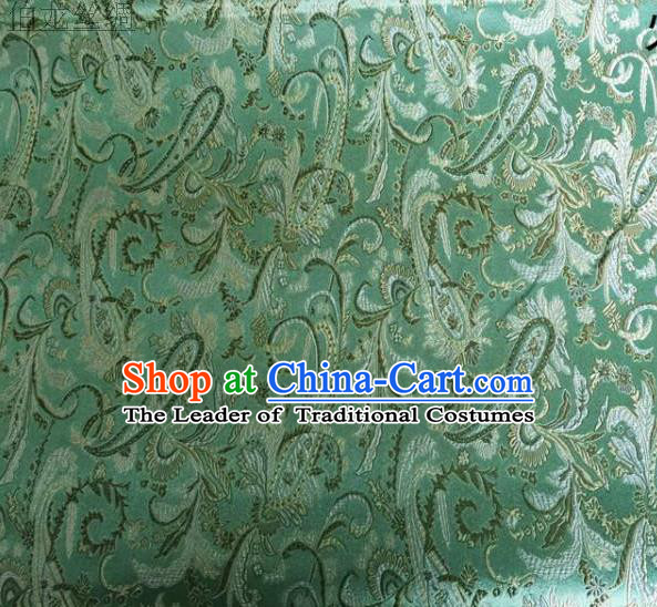 Asian Chinese Traditional Handmade Embroidery Ham Flowers Satin Wedding Silk Fabric, Top Grade Nanjing Brocade Tang Suit Hanfu Fabric Cheongsam Green Cloth Material