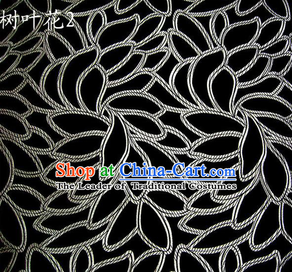Asian Chinese Traditional Handmade Embroidery White Leaf Pattern Satin Wedding Silk Fabric, Top Grade Nanjing Brocade Tang Suit Hanfu Fabric Cheongsam Black Cloth Material