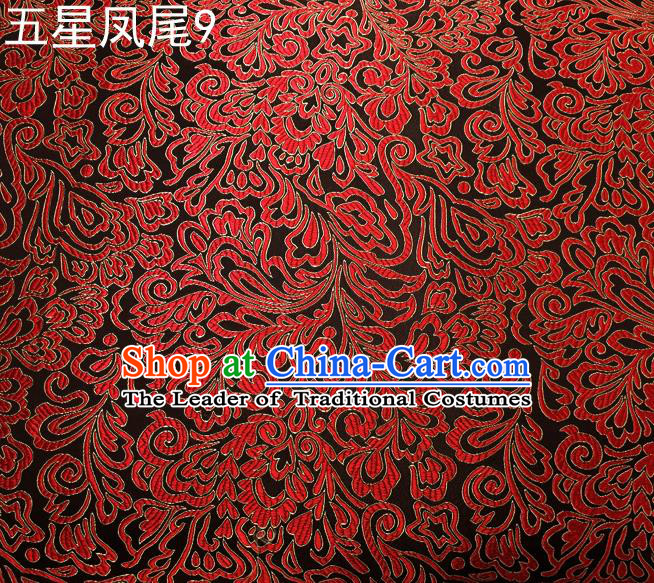 Asian Chinese Traditional Handmade Embroidery Red Five-star Ombre Flowers Satin Silk Fabric, Top Grade Nanjing Brocade Tang Suit Hanfu Fabric Cheongsam Black Cloth Material