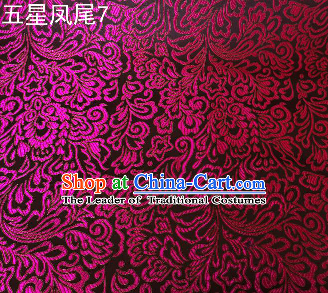 fc8926f7b51 Asian Chinese Traditional Handmade Embroidery Purple Five-star Ombre  Flowers Satin Silk Fabric