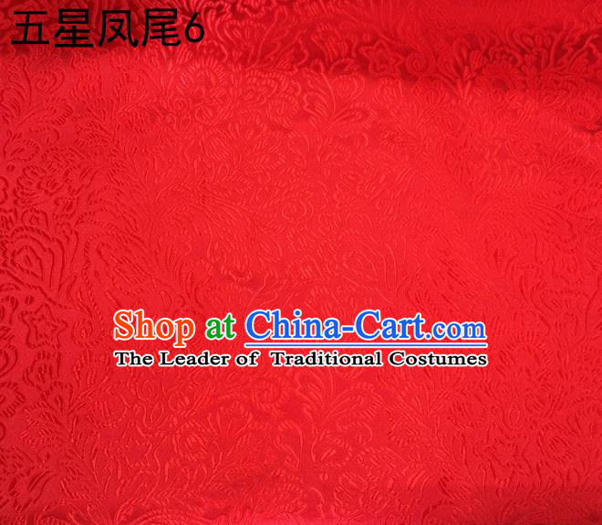 Asian Chinese Traditional Handmade Embroidery Red Five-star Ombre Flowers Satin Silk Fabric, Top Grade Nanjing Brocade Tang Suit Hanfu Fabric Cheongsam Cloth Material