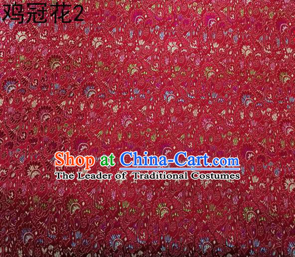 Asian Chinese Traditional Handmade Embroidery Cockscomb Flowers Satin Thangka Red Silk Fabric, Top Grade Nanjing Brocade Tang Suit Hanfu Fabric Cheongsam Cloth Material