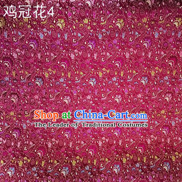 Asian Chinese Traditional Handmade Embroidery Cockscomb Flowers Satin Thangka Purple Silk Fabric, Top Grade Nanjing Brocade Tang Suit Hanfu Fabric Cheongsam Cloth Material