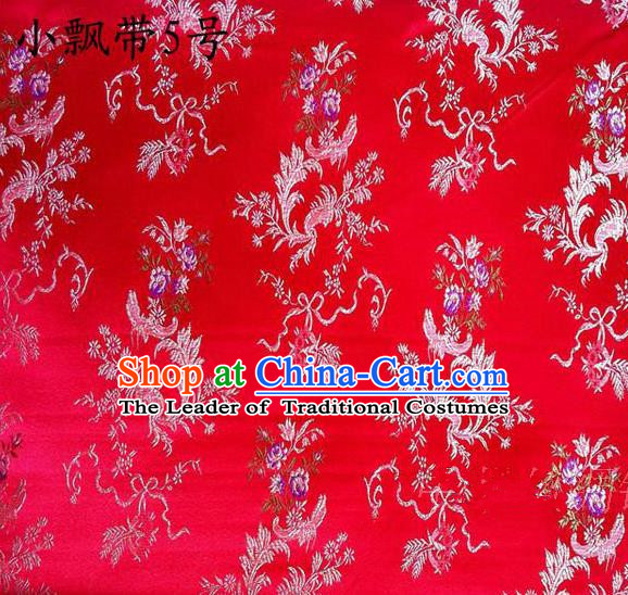 Traditional Asian Chinese Handmade Embroidery Flowers Ribbons Satin Red Silk Fabric, Top Grade Nanjing Brocade Tang Suit Hanfu Clothing Fabric Cheongsam Cloth Material