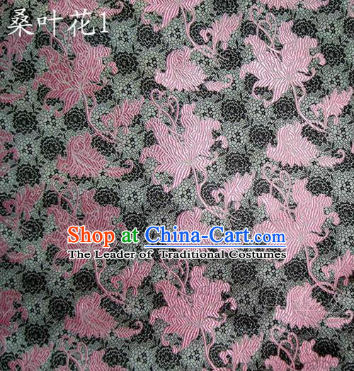 Traditional Asian Chinese Handmade Embroidery Mulberry Leaf Flowers Satin Grey Silk Fabric, Top Grade Nanjing Brocade Tang Suit Hanfu Clothing Fabric Cheongsam Cloth Material