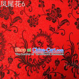 Traditional Asian Chinese Handmade Embroidery Black Ombre Peony Flowers Satin Red Silk Fabric, Top Grade Nanjing Brocade Tang Suit Hanfu Clothing Fabric Cheongsam Cloth Material