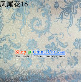 Traditional Asian Chinese Handmade Embroidery Blue Ombre Peony Flowers Satin Silk Fabric, Top Grade Nanjing Brocade Tang Suit Hanfu Clothing Fabric Cheongsam Cloth Material