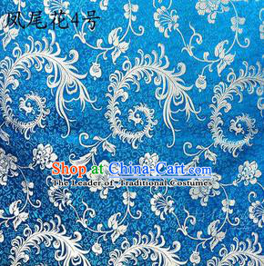Traditional Asian Chinese Handmade Embroidery Ombre Peony Flowers Satin Blue Silk Fabric, Top Grade Nanjing Brocade Tang Suit Hanfu Clothing Fabric Cheongsam Cloth Material