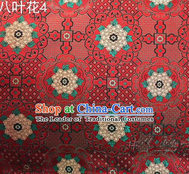 Traditional Asian Chinese Handmade Embroidery Flowers Mongolian Robe Satin Red Silk Fabric, Top Grade Nanjing Brocade Ancient Costume Tang Suit Hanfu Clothing Fabric Cheongsam Cloth Material