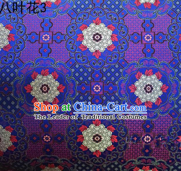 Traditional Asian Chinese Handmade Embroidery Flowers Mongolian Robe Satin Blue Silk Fabric, Top Grade Nanjing Brocade Ancient Costume Tang Suit Hanfu Clothing Fabric Cheongsam Cloth Material
