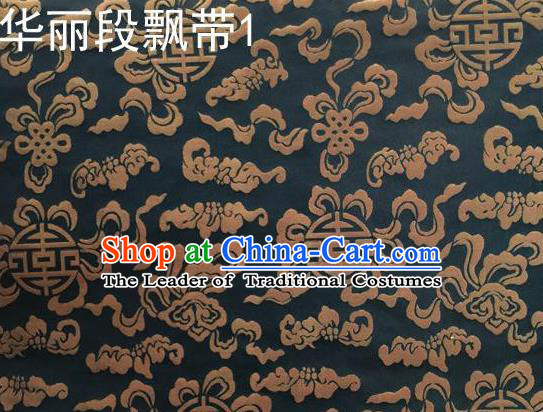 Traditional Asian Chinese Handmade Embroidery Ribbons Mongolian Robe Satin Black Silk Fabric, Top Grade Nanjing Brocade Ancient Costume Tang Suit Hanfu Clothing Fabric Cheongsam Cloth Material