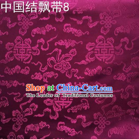 Traditional Asian Chinese Handmade Embroidery Chinese Knot Ribbons Satin Purple Silk Fabric, Top Grade Nanjing Brocade Tang Suit Hanfu Fabric Cheongsam Cloth Material