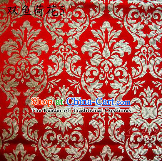 Traditional Asian Chinese Handmade Embroidery Lotus Flowers Fishes