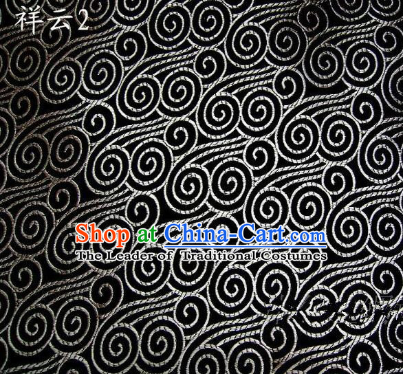 Traditional Asian Chinese Handmade Embroidery Auspicious Clouds Satin Black Silk Fabric, Top Grade Nanjing Brocade Tang Suit Hanfu Clothing Fabric Cheongsam Cloth Material
