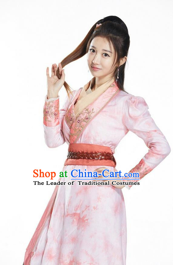 Asian Chinese Traditional Ming Dynasty Young Lady Costume and Headpiece Complete Set, China Ancient Elegant Hanfu Clothing Swordswoman Embroidered Dress
