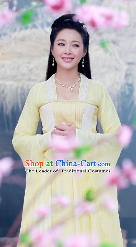Asian Chinese Traditional Ancient We Feminist Costume and Headpiece Complete Set, China Tang Dynasty Elegant Hanfu Fairy Clothing Princess Embroidered Dress for Women