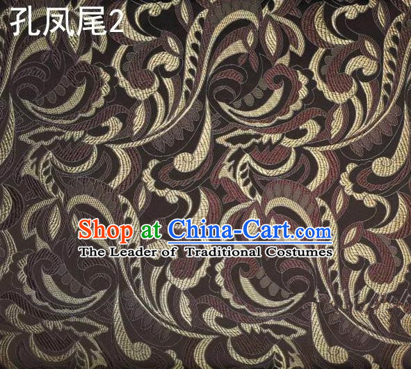 Traditional Asian Chinese Handmade Embroidery Ombre Flowers Satin Tang Suit Brown Silk Fabric, Top Grade Nanjing Brocade Ancient Costume Hanfu Clothing Fabric Cheongsam Cloth Material