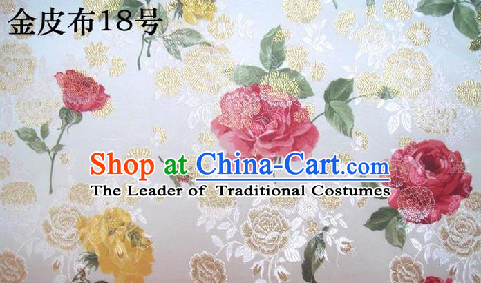Traditional Asian Chinese Handmade Printing Gold Wire Roses Satin Wedding Tang Suit White Silk Fabric, Top Grade Nanjing Brocade Ancient Costume Hanfu Tibetan Clothing Cheongsam Cloth Material