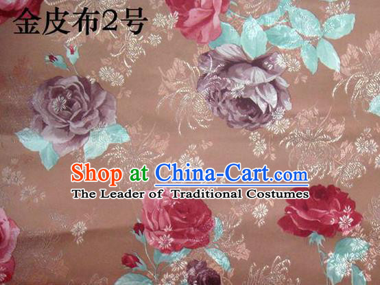 Traditional Asian Chinese Handmade Printing Gold Wire Roses Satin Wedding Tang Suit Brown Silk Fabric, Top Grade Nanjing Brocade Ancient Costume Hanfu Tibetan Clothing Cheongsam Cloth Material