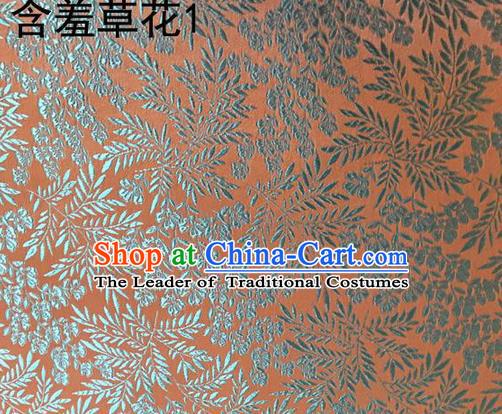 Traditional Asian Chinese Handmade Embroidery Blue Mimosa Pudica Silk Satin Tang Suit Fabric, Nanjing Brocade Ancient Costume Hanfu Cheongsam Cloth Material