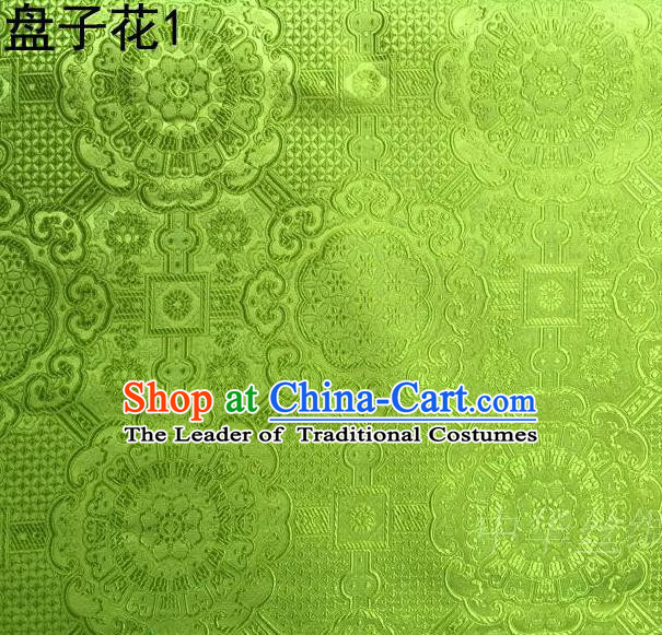 Traditional Asian Chinese Handmade Embroidery Flowers Mongolian Robe Silk Satin Tang Suit Green Fabric, Nanjing Brocade Ancient Costume Hanfu Cheongsam Cloth Material