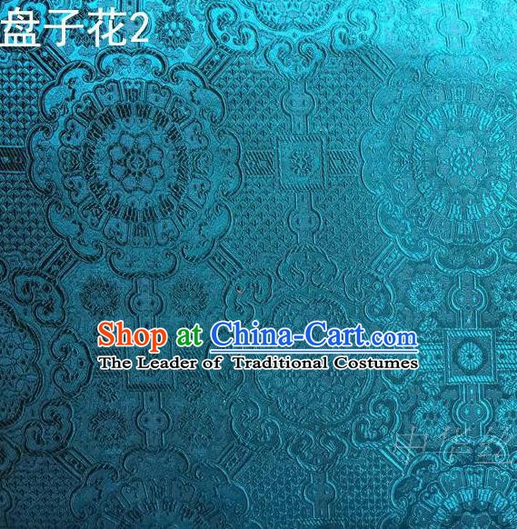 Traditional Asian Chinese Handmade Embroidery Flowers Mongolian Robe Silk Satin Tang Suit Peacock Blue Fabric, Nanjing Brocade Ancient Costume Hanfu Cheongsam Cloth Material