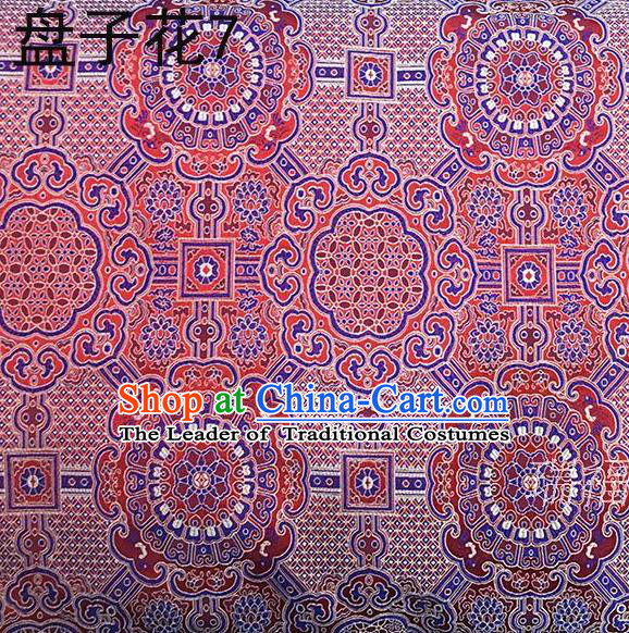 Traditional Asian Chinese Handmade Embroidery Colorful Flowers Mongolian Robe Silk Satin Tang Suit Fabric, Nanjing Brocade Ancient Costume Hanfu Cheongsam Cloth Material