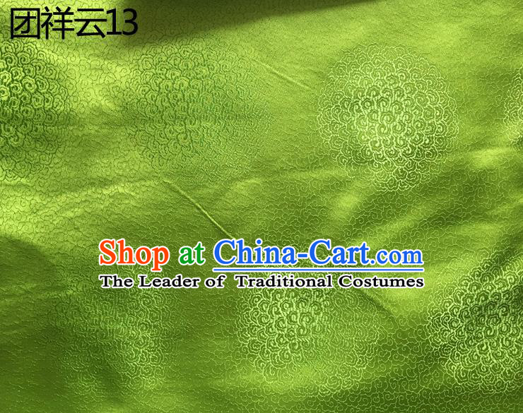 Traditional Asian Chinese Handmade Embroidery Round Auspicious Clouds Silk Satin Tang Suit Green Mongolian Robe Fabric, Nanjing Brocade Ancient Costume Hanfu Cheongsam Cloth Material