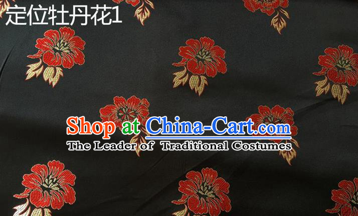 Traditional Asian Chinese Handmade Embroidery Peony Flowers Silk Satin Tang Suit Black Fabric, Nanjing Brocade Ancient Costume Hanfu Cheongsam Cloth Material